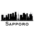 Sapporo City skyline black and white silhouette vector image vector image
