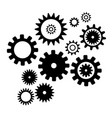 set cogwheel silhouette pattern isolated white vector image
