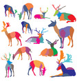 set of colorful mosaic deer silhouettes vector image vector image