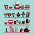 set of tea collection with a tea pot tea cup vector image