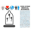 sperm prevention condom icon with 1300 medical vector image vector image
