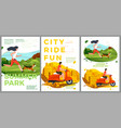 summer posters set - running and riding vector image vector image