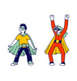 superhero kids friends playing and having fun vector image