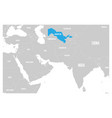 uzbekistan blue marked in political map of south vector image vector image