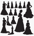 wedding dresses silhouettes vector image