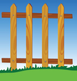wooden fence in park with blue sky in background vector image vector image