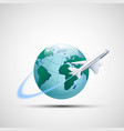 icon plane flies around the earth planet business vector image