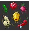 Cartoon Vegetables Characters Set vector image