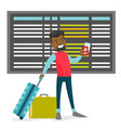 a black man with a passport and luggage in the vector image