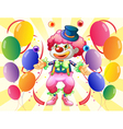 A dozen of colorful balloons with a clown vector image