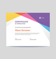 abstract colored shapes certificate design vector image