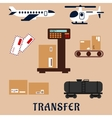 Air and rail freight service icons vector image vector image