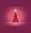 beautiful pink christmas tree of lights vector image vector image