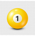billiardyellow pool ball with number 1snooker vector image vector image