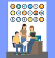 bitcoin currencies icons set and workers vector image vector image