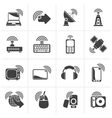Black wireless and technology icons vector image vector image