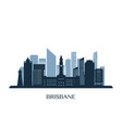 brisbane skyline monochrome silhouette vector image vector image