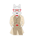 brutal fox in elegant classic suit with coat Hand vector image vector image