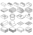 Building and construction materials linear vector image vector image