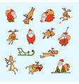 cartoon christmas set santa claus reindeer vector image vector image