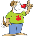 Cartoon dog pointing in the air vector image vector image