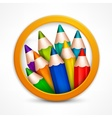 Circle pencil logo vector image vector image