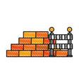 construction wall brick and barricade warning vector image