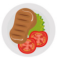 cut beef meat with salad icon vector image vector image