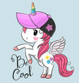 cute unicorn with a cap vector image vector image