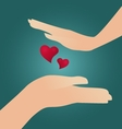 Girl hands boy hands and two red hearts vector image