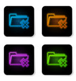 glowing neon delete folder icon isolated on white vector image vector image