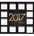 Gold 2017 luxury editable Calendar vector image vector image