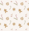 hand drawn seamless pattern with gingerbread vector image vector image