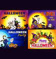 happy halloween banner set cartoon style vector image vector image