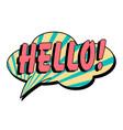 hello speech bubble in retro style vector image vector image