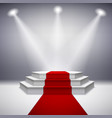Illuminated stage podium with red carpet vector image vector image