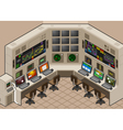 isometric Control center with mega screen vector image