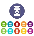 Jar of powder marijuana set icons vector image vector image