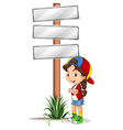 Little girl standing by the road signs vector image vector image