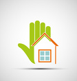 Logo of the human hand and at home vector image vector image