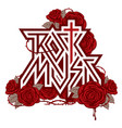 logo rock music with red roses and blood vector image