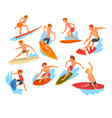 male surfers characters riding waves set vector image vector image