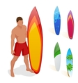 Man is standing with a surfboard in his hands vector image vector image