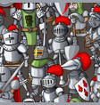 medieval armored knights formation hand drawn vector image