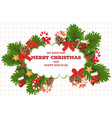 merry christmas card wreath vector image vector image