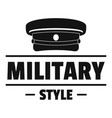 military hat logo simple black style vector image vector image