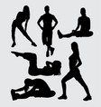 muscle training silhouette vector image