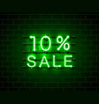 neon 10 sale text banner night sign vector image vector image