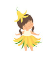 pretty little girl wearing yellow lily flower vector image vector image