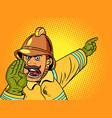 retro fireman yells about a fire danger vector image